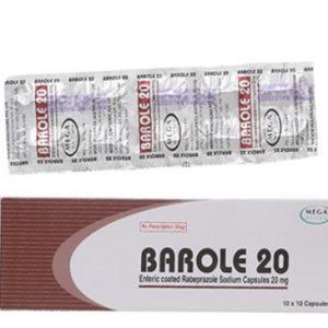 Barole 20 điều trị triệu chứng loét dạ dày, loét tá tràng, loét miệng nối, viêm thực quản hồi lưu, hội chứng Zollinger-Ellison.