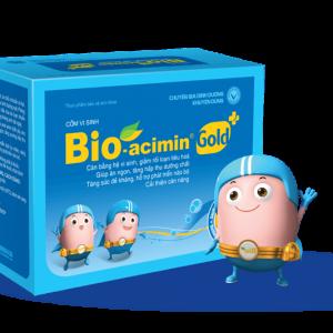 Bio acimin với thành phần gồm hàng triệu vi khuẩn có lợi, cùng vitamin, acid amin và các khoáng chất thiết yếu, cốm vi sinh Bio-acimin Gold giúp lập lại cân bằng hệ vi sinh đường ruột, hỗ trợ giải quyết tình trạng rối loạn tiêu hóa, nâng cao sức đề kháng, phát triển chiều cao và hỗ trợ phát triển trí não cho trẻ.