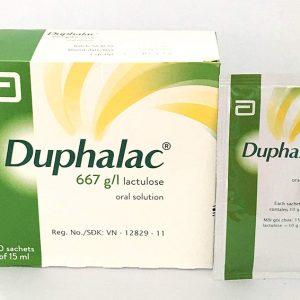 Duphalac sachet điều trị táo bón: Điều hòa nhu động sinh lý của đại tràng. Được dùng trong các trường hợp khi mà việc tạp phân mềm được xem là có lợi cho điều trị (bệnh trĩ, hậu phẫu kết tràng/hậu môn), bệnh lý não do gan.