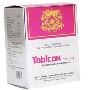 Thuốc Tobicom có thành phần là Natri chondroitin sulfat; Retinol palmitat; Cholin hydrotartrat; Riboflavin; Thiamin hydroclorid; Tá dược có tác dụng điều trị nhức mỏi mắt, viêm giác mạc, đau nhức mắt, giảm thị lực trong thời kỳ cho con bú, quáng gà, bổ sung dưỡng chất khi suy yếu thị lực.