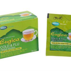 Trà thảo dược Eugica Cold & Flu với công thức chứa 14 loại thảo dược thiên nhiên, kết hợp giữa y học cổ truyền Ấn Độ (Ayurveda) và công nghệ sản xuất hiện đại hỗ trợ làm giảm các triệu chứng cảm, cảm cúm như: Đau đầu, sổ mũi/chảy nước mũi, nghẹt mũi, hắt hơi, ho, đau họng, ngứa họng.