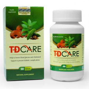 TĐCARE là sản phẩm 100% thảo dược tự nhiên, kết hợp từ 7 thảo dược quý hỗ trợ hạ đường huyết, giảm chỉ số HbA1c, giảm các nguy cơ biến chứng của bệnh tiểu đường. Sản phẩm dùng cho người bị đái tháo đường, tiền đái tháo đường và người có nguy cơ cao mắc đái tháo đường.