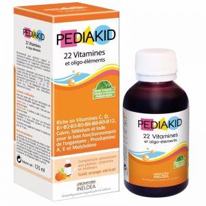Siro bổ sung Vitamin và khoáng chất Pediakid 22 Vitamines giúp bổ sung các vitamin và khoáng chất. Giúp cho cơ thể khoẻ mạnh, tăng khả năng hấp thu và tăng cường sức đề kháng cho cơ thể.