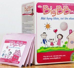 Thực phẩm bảo vệ sức khỏe cốm trẻ em Big BB Plus bổ sung các hoạt chất từ thảo mộc thiên nhiên, hỗ trợ làm giảm các triệu chứng viêm đường hô hấp trên cấp và mạn tính như chảy nước mũi, viêm họng, viêm thanh quản, ho, ho có đờm,…